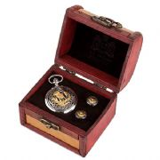 Two Tone Scottish Thistle Watch & Cufflink Set In Box